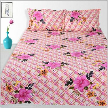 Ahem Homes Cotton 2 Double Bedsheet With 4 Pillow Cover-JC1208