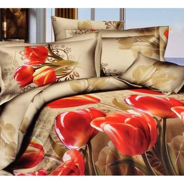 Set Of 2 4D Printed Double Bed Sheet  With 4 Pillow Cover -JF-003_024
