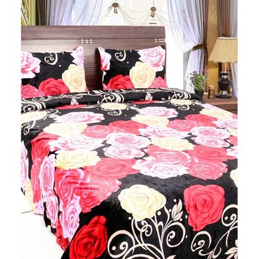 Amore Designer Printed Double Bed Fleece Blanket With 2 Pillow Coves-KDCC10