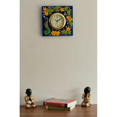 Wooden Papier Mache Peocock Design Artistic Wall Clock-KWC533