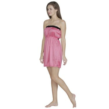 Klamotten Satin Plain Nightwear - Pink - N63_Pnk
