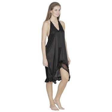 Klamotten Satin Plain Nightwear - Black - X102_Blk