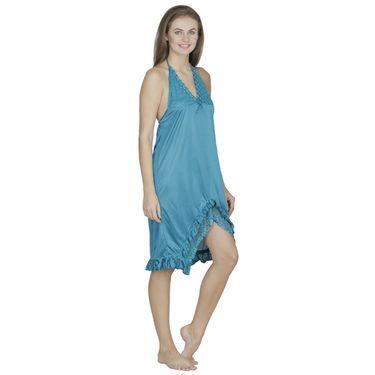 Klamotten Satin Plain Nightwear - Turquoise - X102_Trq