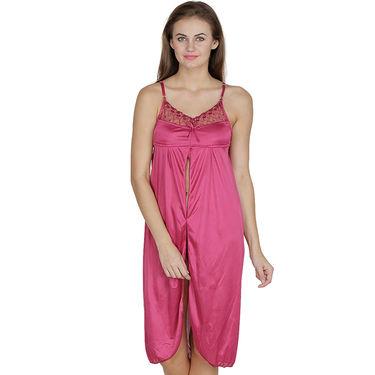 Klamotten Satin Plain Nighty - Pink - X41_Pink