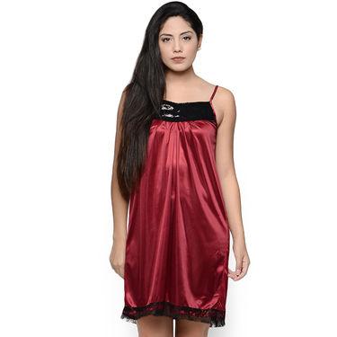 Klamotten Satin Plain Nightwear - Maroon - YY151