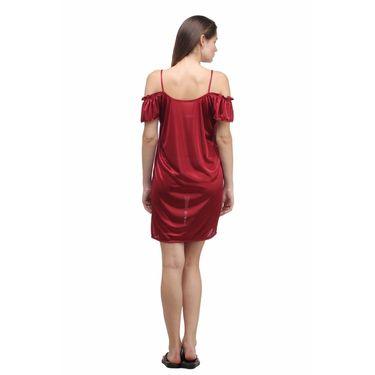 Klamotten Satin Plain Nightwear - Maroon - YY16