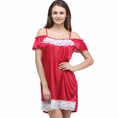 Klamotten Cotton Plain Nightwear - Red - YY17