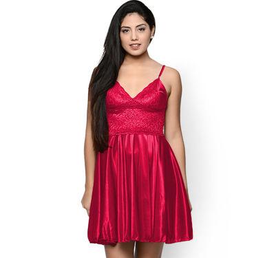 Klamotten Satin Plain Nightwear - Red - YY32