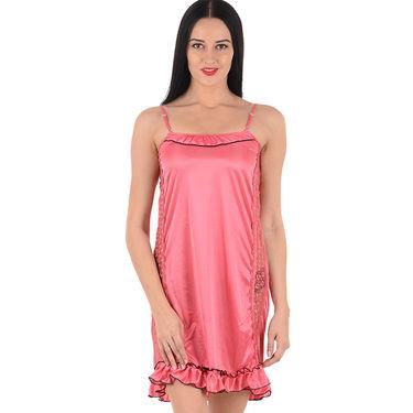 Klamotten Satin Plain Nightwear - Pink - YY44