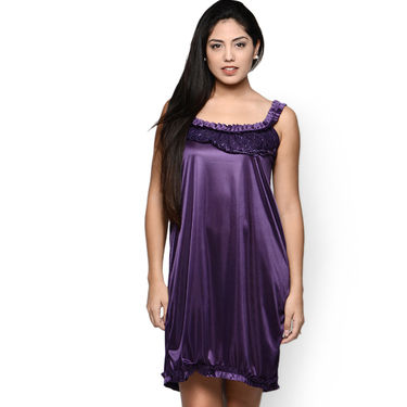 Klamotten Satin Plain Nightwear - Purple - YY55