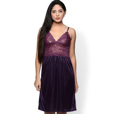 Klamotten Satin Plain Nightwear - Purple - YY66