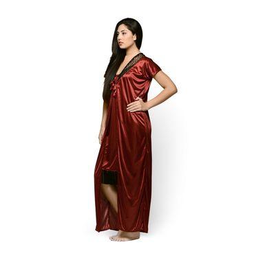 Klamotten Satin Plain Nightwear - Maroon - YY76