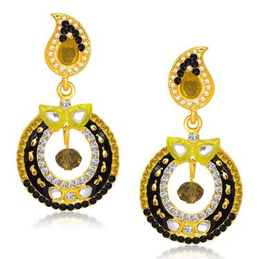 Kriaa Austrian Diamond Gold Plated Earrings - White & Black _ 1304621
