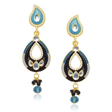 Kriaa Austrian Stone Kundan Earrings - Black & Blue _ 1304633