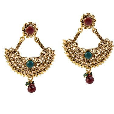 Kriaa Gold Plated Drop Earrings - Red & Blue _ 1304914