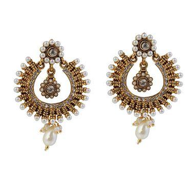 Kriaa Antique Gold Pearl Earrings - White _ 1304923