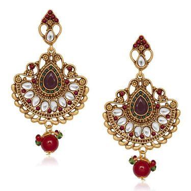 Kriaa Austrian Stone Kundan Earrings - Red & Green _ 1305530