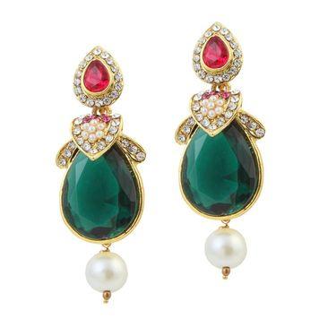 Kriaa Austrian Stone Pearl Gold Finish Dangle Earrings - Pink & Green _ 1305814