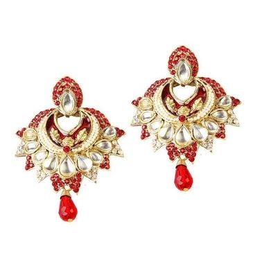 Kriaa Austrian Stone Kundan Meenakari Earrings - Red _ 1300118