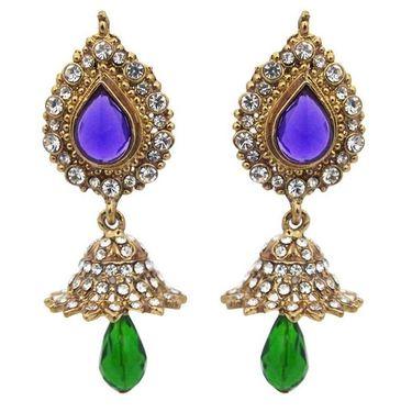 Kriaa Austrian Stone Jhumki Earrings - Blue & Green _ 1300821