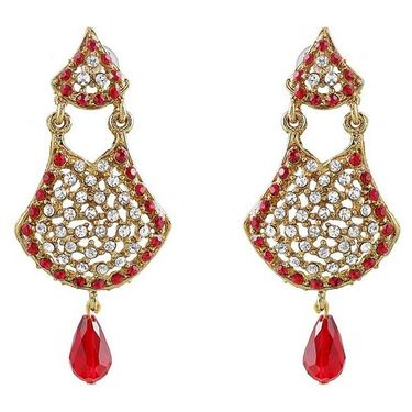 Kriaa Austrian Stone Drop Earrings - Red _ 1300901