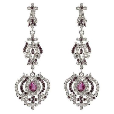 Kriaa Austrian Stone Earrings - Purple _ 1301430