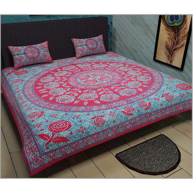 Set of 2 Jaipuri Print Double Bedsheets with 4 Pillow Covers-Kunj2DB-1