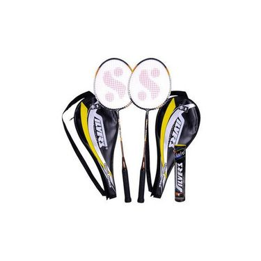Silver's Pack of 2 Legend Badminton Racquets With 2 Individual 3 4Th Covers (Assorted) With Pack of 10 1 Box Marvel Shuttle Cock