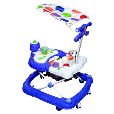 Duck Musical Walker with Tray And Canopy - Blue