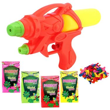 Holi Orange Water Pichkari Air Rocket Squirter With Tota Gulal Balloons 21805 - 4TOTA