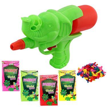 Holi Green Water Pichkari Ele Ball Squirter With Tota Gulal Balloons A577-27 - 4TOTA
