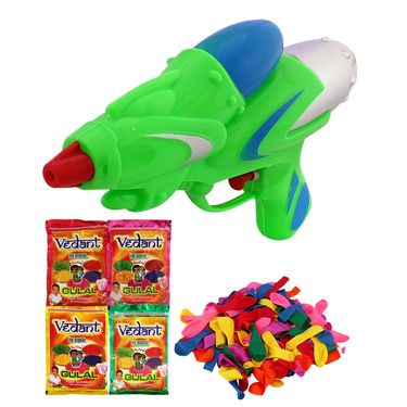 Holi Green Water Pichkari Rocket Squirter With Gulal Balloons M55 - 4VHG