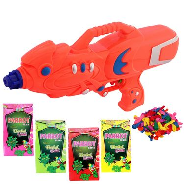 Holi Orange Water Pichkari Super Squirter With Tota Gulal Balloons M66 - 4TOTA