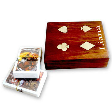 Liana Set of 2 Plastic Coated Premium Playing Cards - White & Brown