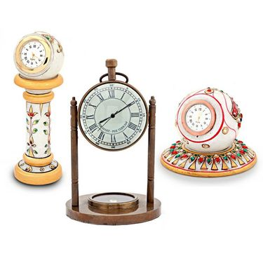 Antique Clock Compass n Two Marble Clocks Combo 352-DL4COMB352