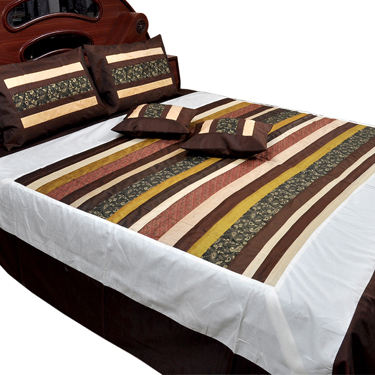 Little India Double Bedcover with 2 Cushion Cover and 2 Pillow Cover - Multicolor- DLI3SLK348