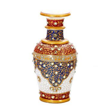 Handpainted Red & Blue Marble Vase-MAR15347