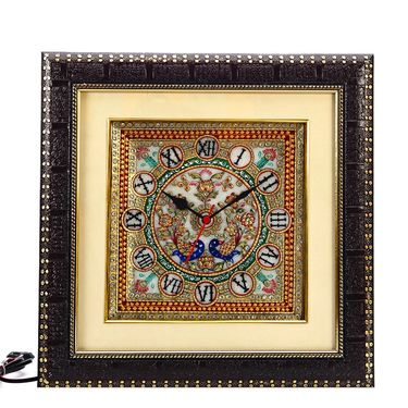Painted Marble Peacock Wall Clock-MAR15381