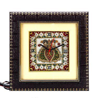 Dual Peacock Motif Marble Wall Clock-MAR15384