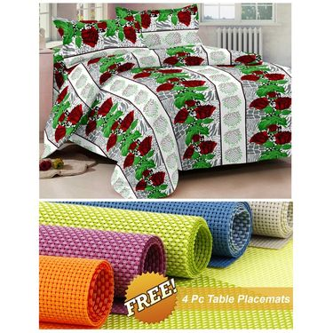 Storyathome Green Floral 1 Double Bedsheet With 2 Pillow Cover -MG1409_TT