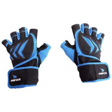 Mayor Pacifico Blue - Black Gym Gloves  - M