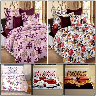 Storyathome Combo Of 100% Cotton 2pc Double Bedsheet, 2pc  3D Bed Sheet And 1pc Cotton Single Bed Sheet-MP_1202-1203-PC_1404-1406-FY1422