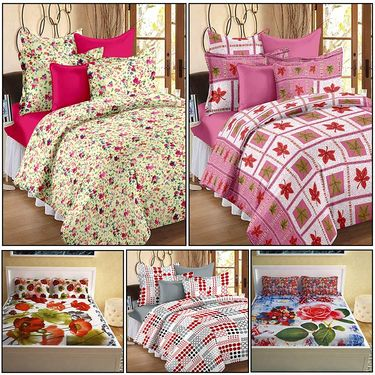 Storyathome Combo Of 100% Cotton 2pc Double Bedsheet, 2pc  3D Bed Sheet And 1pc Cotton Single Bed Sheet-MP_1209-1214-PC_1403-1408-FY1425