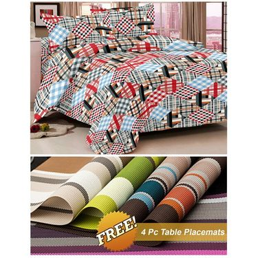 Storyathome Black Checks 1 Double Bedsheet With 2 Pillow Cover -MT1223_TT