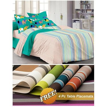 Storyathome Blue Striped 1 Double Bedsheet With 2 Pillow Cover -MT1235_TT