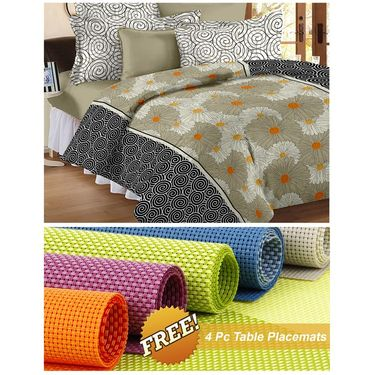 Storyathome off white Abstract 1 Double Bedsheet With 2 Pillow Cover -MT1244_TT