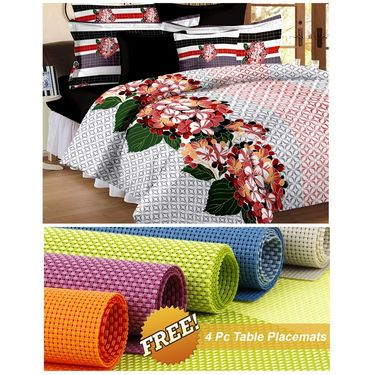 Storyathome White Abstract 1 Double Bedsheet With 2 Pillow Cover -MT1249_TT