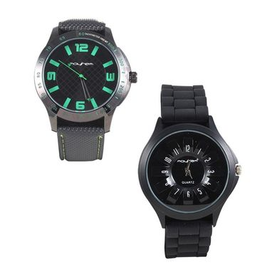 Pack of 2 Mayhem Analog Round Dial Watches_Ma2909 - Black