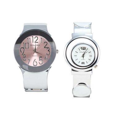 Pack of 2 Mayhem Analog Round Dial Watches_Ma2915 - Pink & White