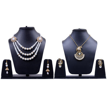 Combo Of Manukunj 2 Pearl Necklace Set - Kunj-111